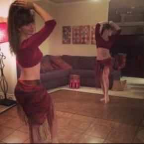 Teak style dance practice flooring at an in-home dance studio