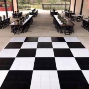Black and White Slate style checkered dance floor with custom white edges