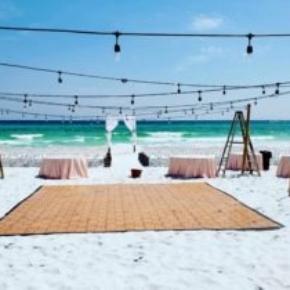 Oak style dance floor at a beach wedding event