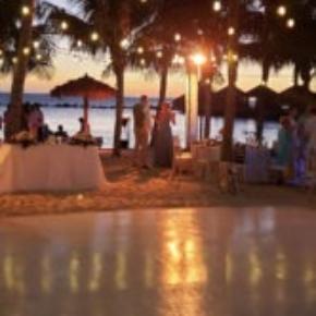 The slate white dance floor looks great at weddings.