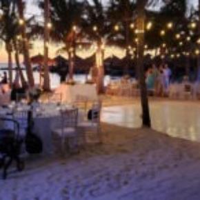 Slate white style wedding dance floor at night