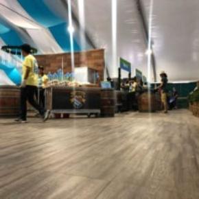 The booths at Snowbird's Oktoberfest with Smoked Oak flooring