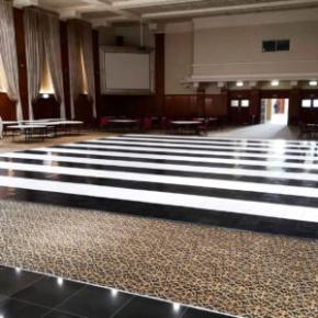 Slate black and white striped dance floor