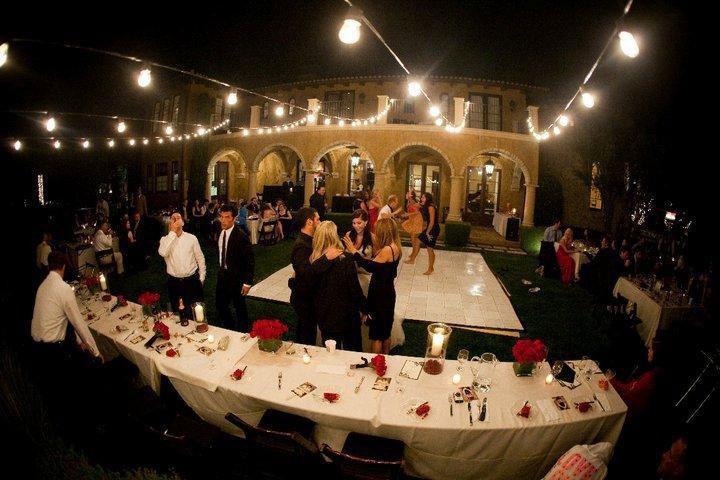 Slate white portable dance floor at garden party