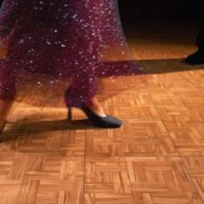 tango dancing on teak portable dance floor