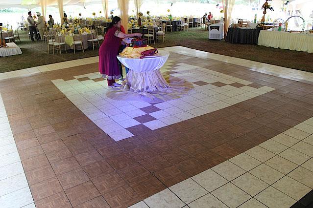 Luxury White Marble an Teak dance floor at a tent event & White Marble Dance Floor | Luxury Dance Floor