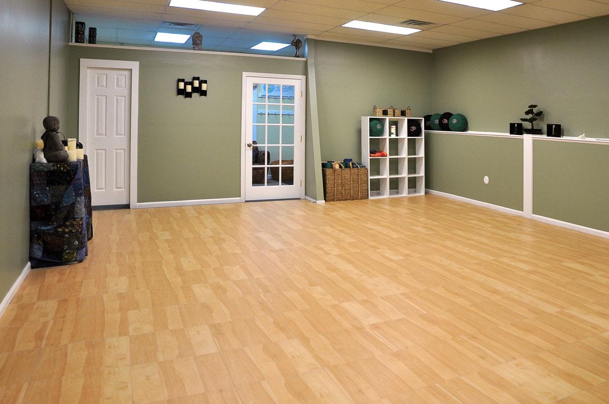maple portable dance floor for yoga studio