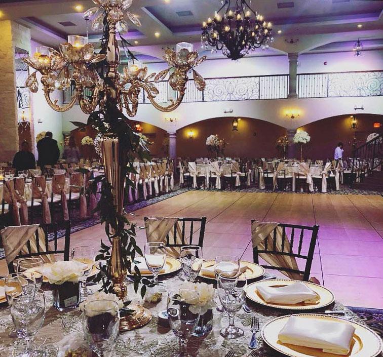 Another view of the indoor wedding space with maple-style SnapLock Dance Floor.