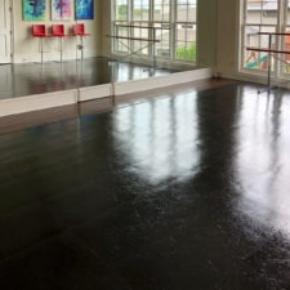 Slate Black dance floor with edging in this tap studio