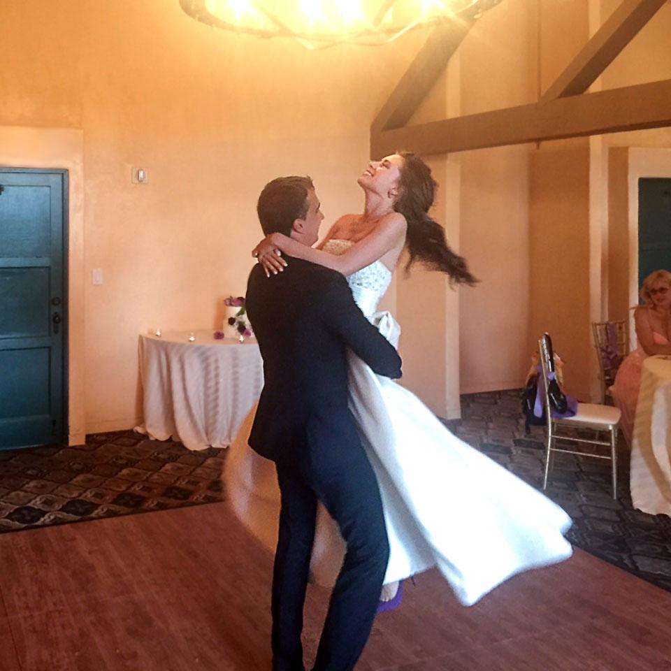 Happy couple on the dance floor.