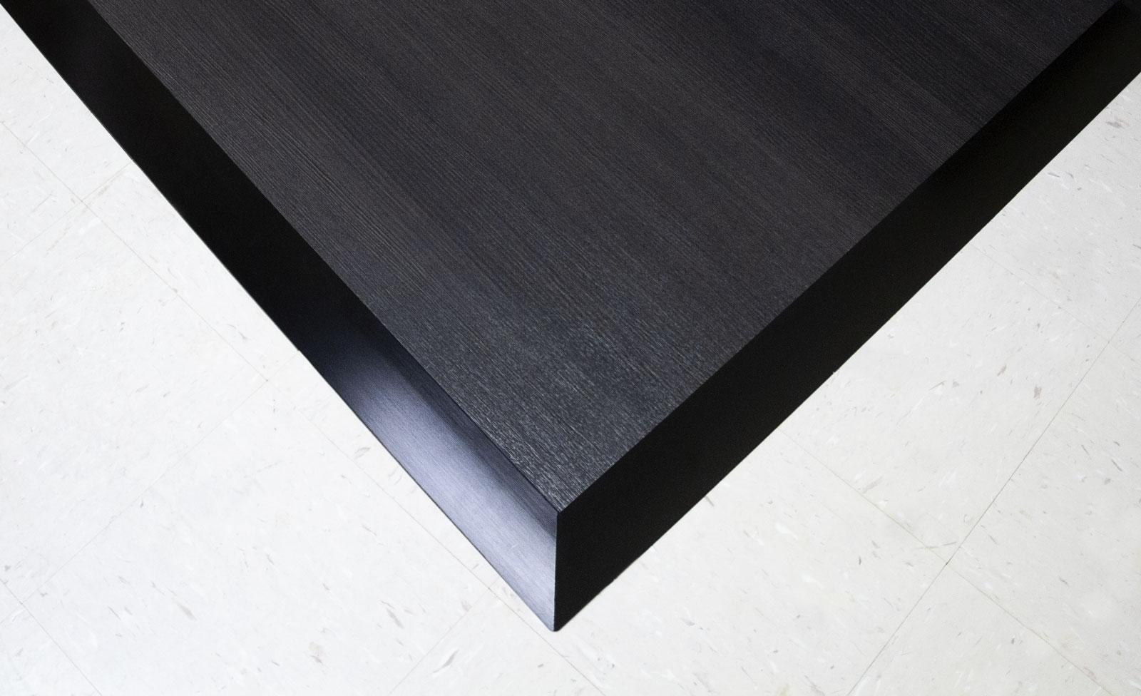 Ebony dance floor with Black Aluminum edging on top of tile floor.