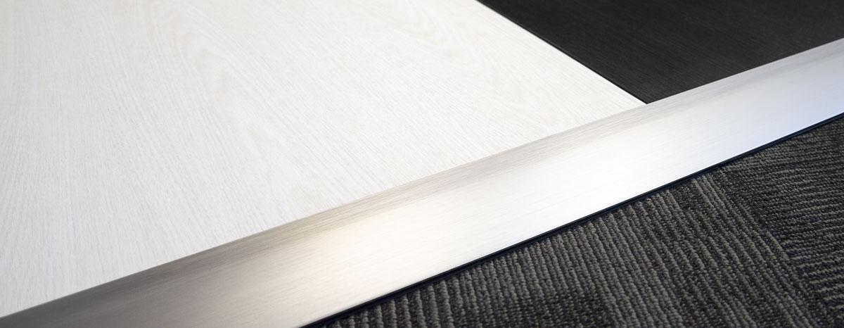Aluminum edging on Ivory and Ebony floor