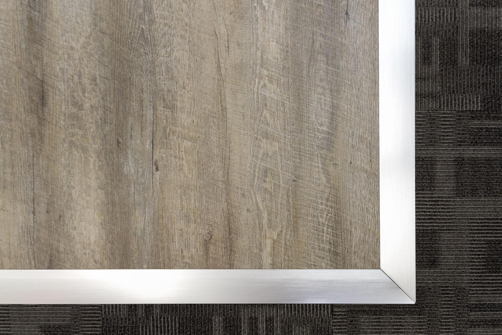 Silver style Aluminum edging on Smoked Oak.